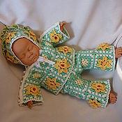 Куклы и игрушки ручной работы. Ярмарка Мастеров - ручная работа Костюм «Нарциссы» с бусинами (штанишки, кофточка, чепчик). Handmade.