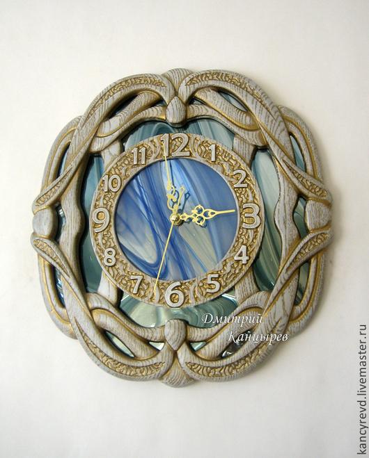 """Часы для дома ручной работы. Ярмарка Мастеров - ручная работа. Купить Часы настенные """"Сплетение времен"""", беленый дуб с золотом, зеркальные. Handmade."""