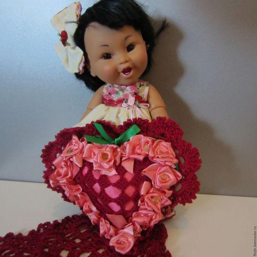 Кукольный дом ручной работы. Ярмарка Мастеров - ручная работа. Купить Декоративная подушечка-валентинка. Handmade. Бордовый, сердце