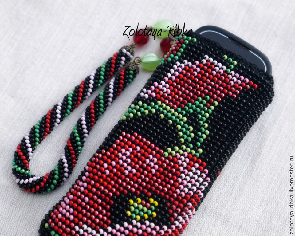 For phones handmade. Phone case beaded `poppy flowers` . Jewelry from Gold fish. Fair masters.