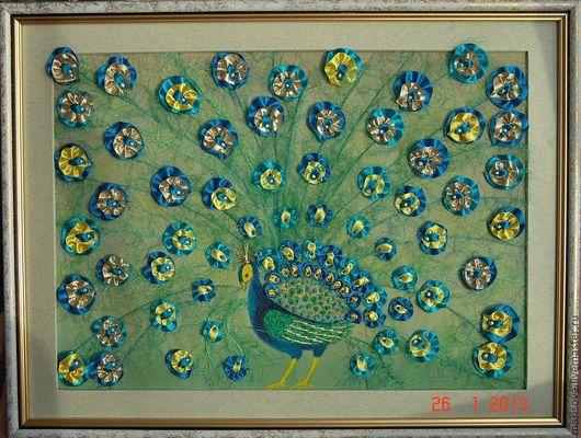 """Картины цветов ручной работы. Ярмарка Мастеров - ручная работа. Купить Картина лентами """"Жар-птица"""". Handmade. Морская волна"""
