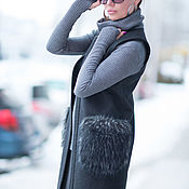 Одежда handmade. Livemaster - original item Black, cashmere coat with fur pockets - VE0031WL. Handmade.