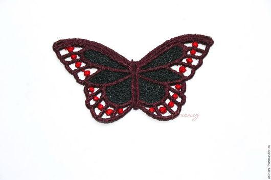 Аппликации, вставки, отделка ручной работы. Ярмарка Мастеров - ручная работа. Купить вышивка аппликация Разноцветные бабочки кружево ажур. Handmade.