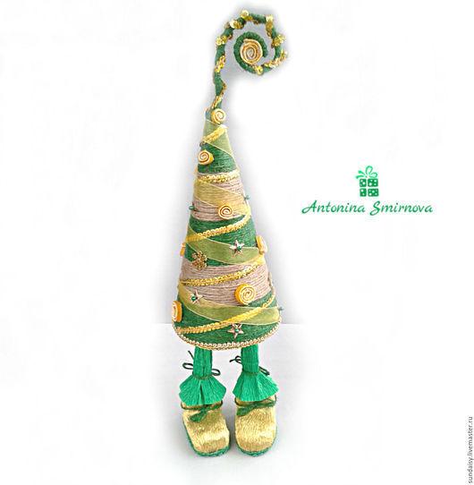 Новый год 2017 ручной работы. Ярмарка Мастеров - ручная работа. Купить Декоративная елочка-топотушка из шнура в зеленых тонах. Handmade.