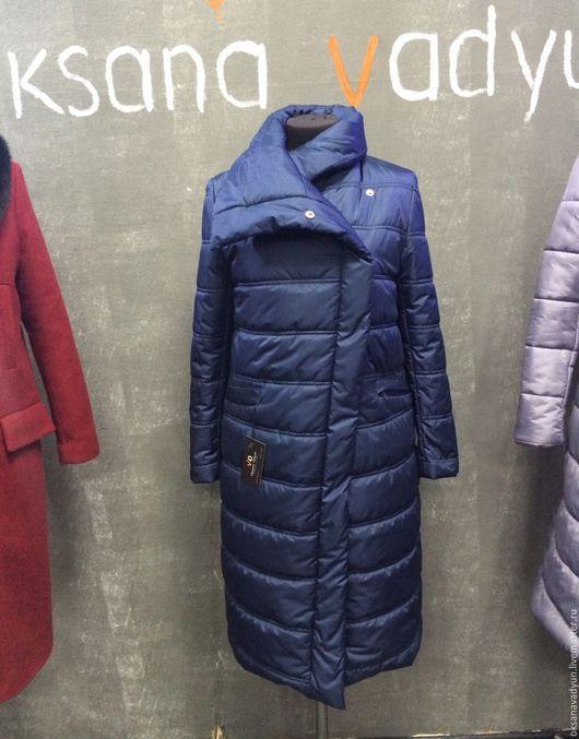 Верхняя одежда ручной работы. Ярмарка Мастеров - ручная работа. Купить Пуховое пальто Asymmetrie 2. Handmade. Тёмно-синий