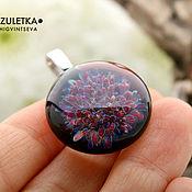 Украшения manualidades. Livemaster - hecho a mano Púrpura radiante - colgante de la lente lempvork - negro púrpura. Handmade.