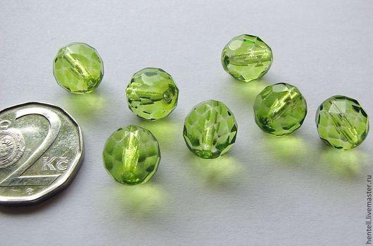 Граненые круглые бусины 10 мм, оливин