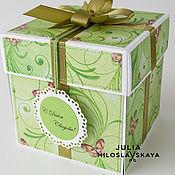 """Свадебный салон ручной работы. Ярмарка Мастеров - ручная работа Свадебная коробочка-откртыка """"Зеленое яблоко"""". Handmade."""