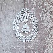 Сувениры и подарки handmade. Livemaster - original item Wreath with bell. Christmas souvenir. Lace. Handmade.
