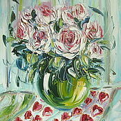 Картины и панно ручной работы. Ярмарка Мастеров - ручная работа Картина, розы, холст, масло, 50 х 40 см.. Handmade.