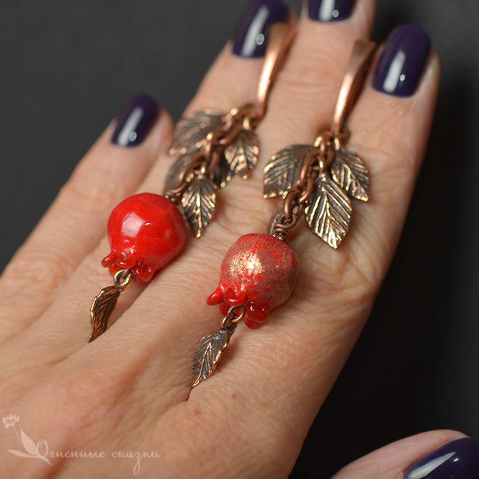 Earrings pomegranates lampwork, Earrings, Moscow,  Фото №1