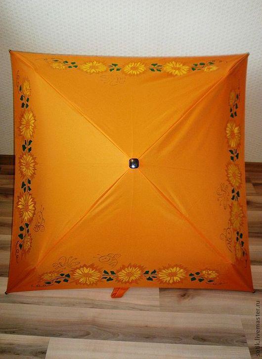 """Зонты ручной работы. Ярмарка Мастеров - ручная работа. Купить Квадратный Зонт """"Яркий"""". Handmade. Оранжевый, цветы, подарок, зеленый"""