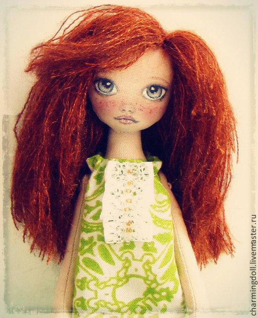 Человечки ручной работы. Ярмарка Мастеров - ручная работа. Купить Авторская текстильная кукла. Handmade. Ярко-зелёный, веснушки