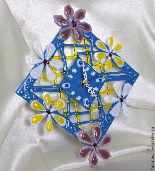 Часы для дома ручной работы. Ярмарка Мастеров - ручная работа. Купить Нежность (в синих тонах) Фьюзинг. Handmade. Синий