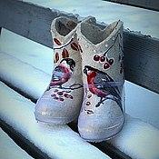 """Обувь ручной работы. Ярмарка Мастеров - ручная работа Валенки детские по мотивам работ  """"снегири прилетели"""". Handmade."""