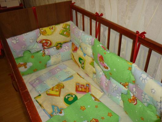 Детская ручной работы. Ярмарка Мастеров - ручная работа. Купить Бортики/бампер в детскую кроватку. Handmade. Комбинированный, бампер в кроватку, необычные