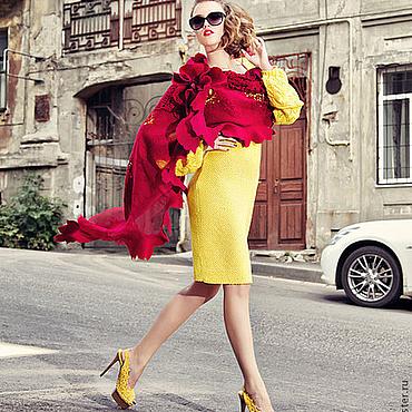 """Одежда ручной работы. Ярмарка Мастеров - ручная работа Палантин очень большой """"Роскошный гибискус"""" из кружева, кашемира и шел. Handmade."""