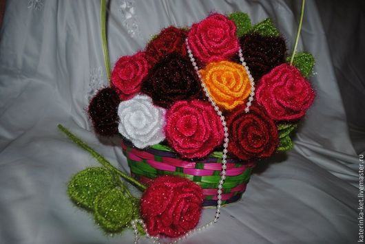 Цветы ручной работы. Ярмарка Мастеров - ручная работа. Купить Роза вязаная. Handmade. Вязаные розы