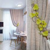 "Для дома и интерьера handmade. Livemaster - original item Curtains for the kitchen linen ""Positive "". Handmade."