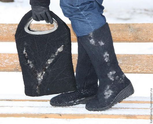 Обувь ручной работы. Ярмарка Мастеров - ручная работа. Купить Сапожки войлочные. Handmade. Черный, валенки ручной работы