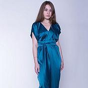 Одежда ручной работы. Ярмарка Мастеров - ручная работа Вечернее платье из атласа тёмно-изумрудное. Handmade.