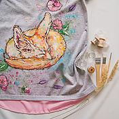 Одежда ручной работы. Ярмарка Мастеров - ручная работа Футболка для беременной Лисонька Фенёк. Handmade.