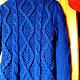 """Верхняя одежда ручной работы. """"Синии АРАНЫ"""". Кардиган или пальто связаное косами. Розалинка (SalLia). Интернет-магазин Ярмарка Мастеров."""