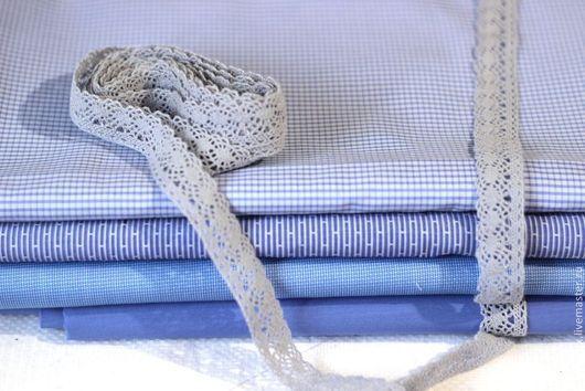 Шитье ручной работы. Ярмарка Мастеров - ручная работа. Купить Набор тканей Кукольный Голубой. Handmade. Ткань для рукоделия, ткань