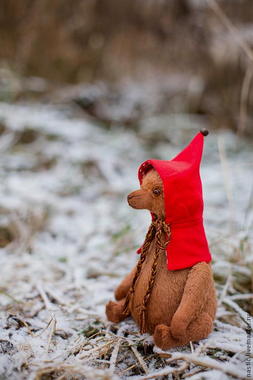 Мишки Тедди ручной работы. Ярмарка Мастеров - ручная работа. Купить по следам красной шапочки. Handmade. Ярко-красный