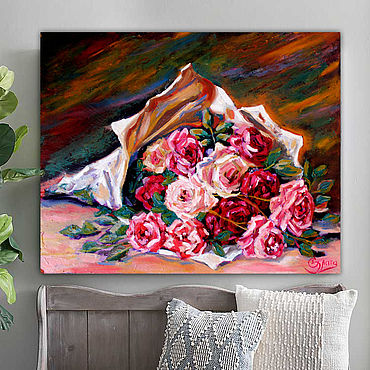 Pictures and panels handmade. Livemaster - original item Bouquet of roses, oil. Handmade.