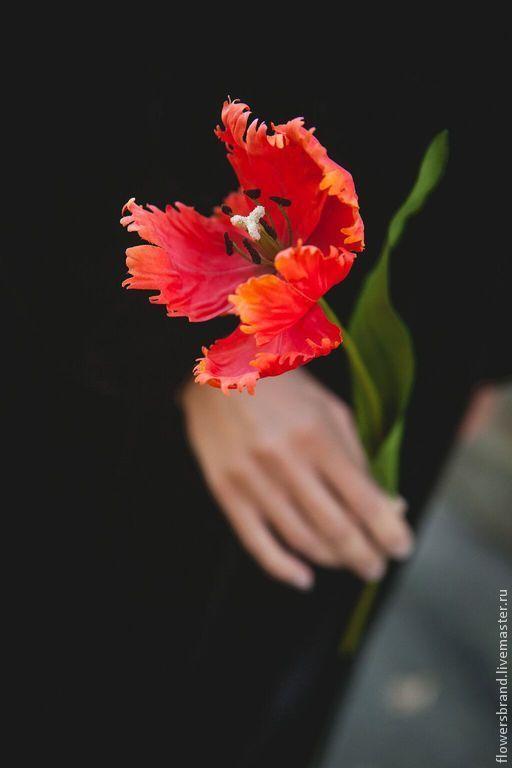 Цветы ручной работы. Ярмарка Мастеров - ручная работа. Купить Тюльпан. Handmade. Тюльпан, букет цветов, букет на свадьбу