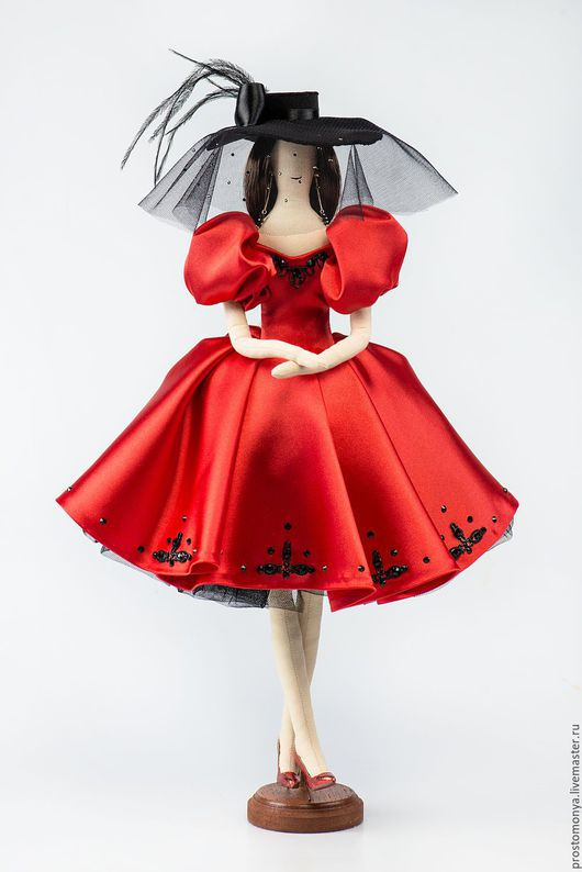 Коллекционные куклы ручной работы. Ярмарка Мастеров - ручная работа. Купить Моня в образе Софи Лорен. Handmade. Ярко-красный