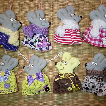 Куклы и игрушки ручной работы. Ярмарка Мастеров - ручная работа Мышки подвески. Handmade.