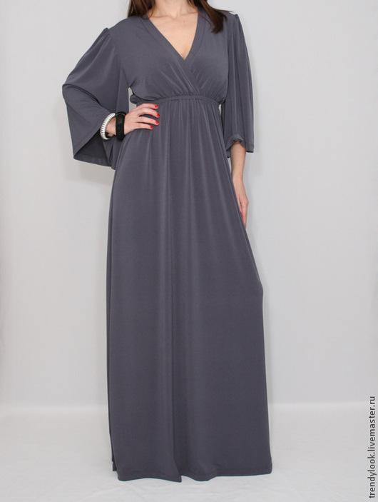 Платья ручной работы. Ярмарка Мастеров - ручная работа. Купить Серое Платье кимоно Длинное платье в пол. Handmade.