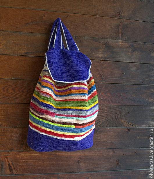 """Рюкзаки ручной работы. Ярмарка Мастеров - ручная работа. Купить Рюкзак """"Цвет индиго"""".. Handmade. Рюкзак, Вязание крючком"""