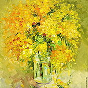 Картины и панно handmade. Livemaster - original item Oil painting on canvas. Mimosa. Handmade.