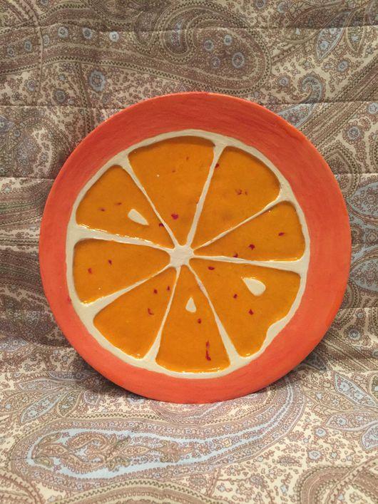 """Декоративная посуда ручной работы. Ярмарка Мастеров - ручная работа. Купить """"Сочный сицилийский апельсин"""" тарелка керамическая ручной работы. Handmade."""