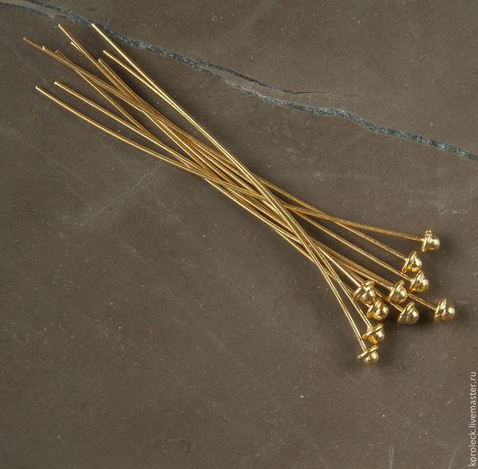 Для украшений ручной работы. Ярмарка Мастеров - ручная работа. Купить Пин серебряный позолоченный Бусинка. Handmade. Золотой