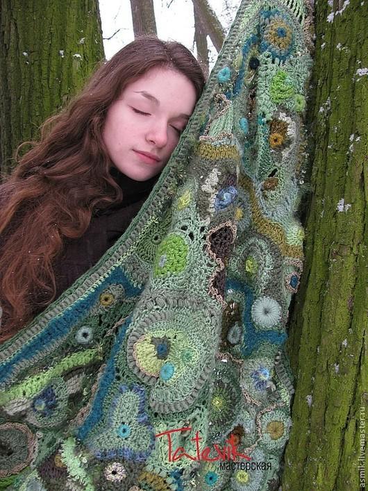 """Шали, палантины ручной работы. Ярмарка Мастеров - ручная работа. Купить Шаль"""" Таинственный лес """". ажурный фриформ. Handmade."""