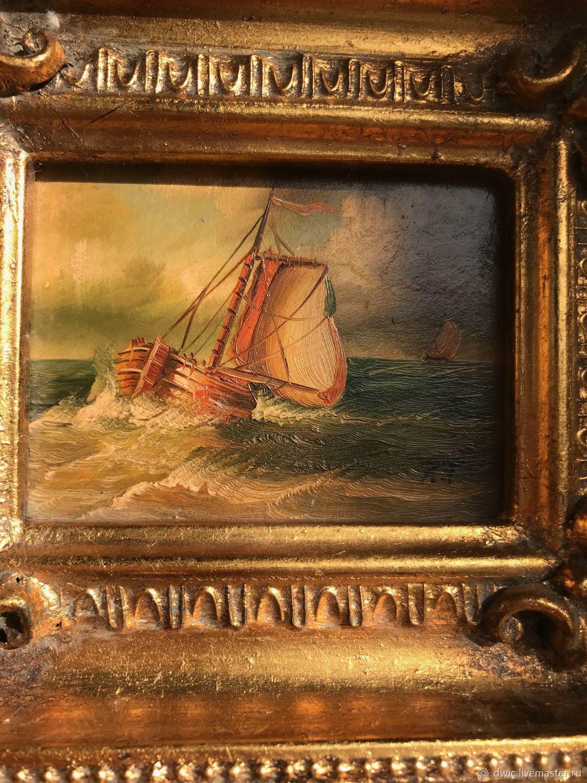 """Винтаж: Винтаж: Картина """"Неспокойное море """",  миниатюра, масло, Голландия, Винтажные предметы интерьера, Арнем, Фото №1"""