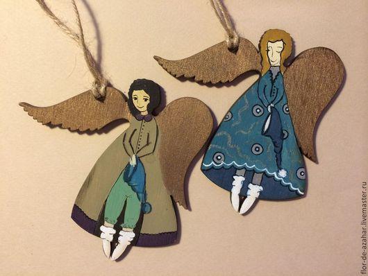 Новый год 2017 ручной работы. Ярмарка Мастеров - ручная работа. Купить Ангелы из дерева в пижамках. Handmade. Ангел, ангелочки, рождество