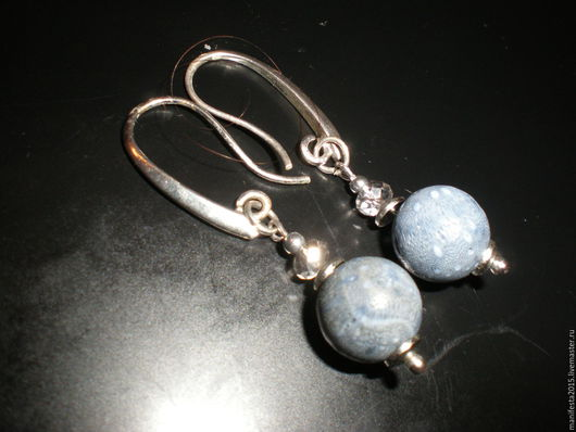 """Серьги ручной работы. Ярмарка Мастеров - ручная работа. Купить серьги из голубого коралла""""Акори"""". Handmade. Синий, голубой коралл"""