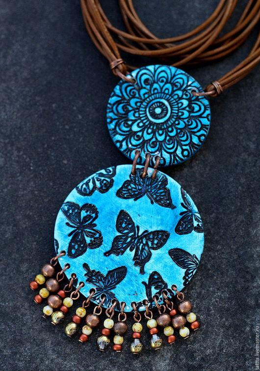 Серьги ручной работы. Ярмарка Мастеров - ручная работа. Купить кулон из полимерной глины бабочки этно. Handmade. Бабочки