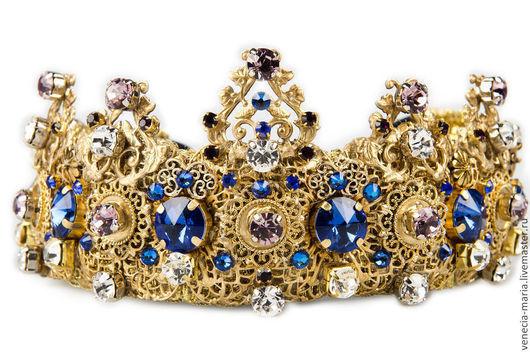 Диадемы, обручи ручной работы. Ярмарка Мастеров - ручная работа. Купить Корона Аква в стиле дольче. Handmade. Синий
