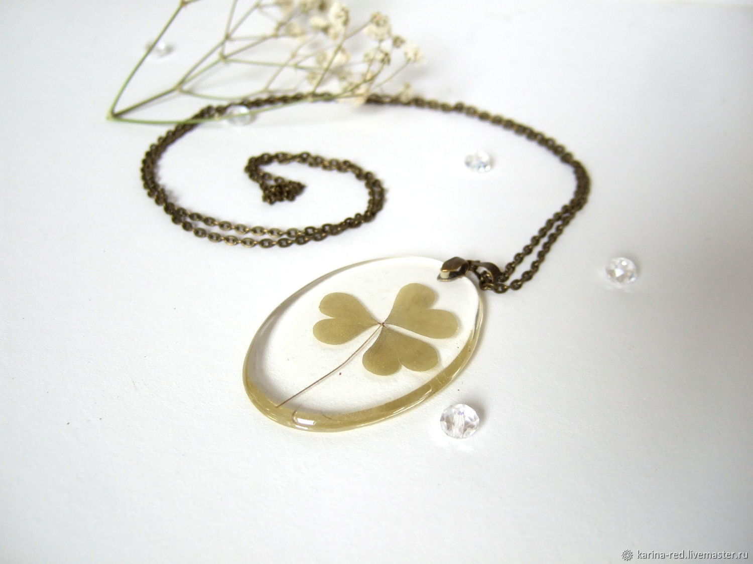 Pendant with Real Leaf Clover good Luck of the woods rustic 2, Pendants, Taganrog,  Фото №1