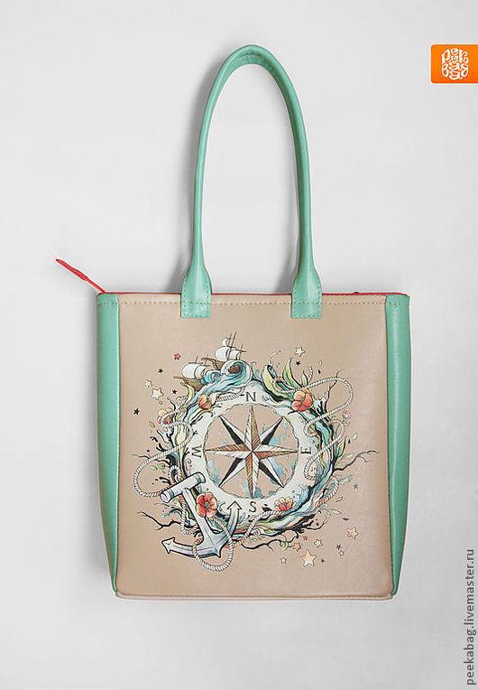 """Женские сумки ручной работы. Ярмарка Мастеров - ручная работа. Купить Сумка кожаная """"Попутного ветра!""""- Мята. Кожаная сумка, сумка из кожи. Handmade."""