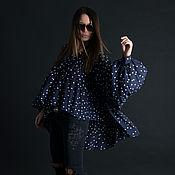 Одежда handmade. Livemaster - original item Cotton polka dot top tunic, dark blue - TU0480CV. Handmade.