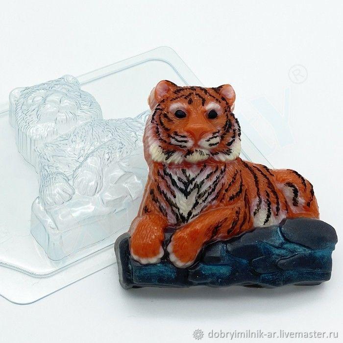 Форма для мыла Тигр лежит на камнях, Формы, Москва,  Фото №1