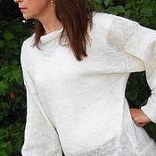 Одежда ручной работы. Ярмарка Мастеров - ручная работа Свитер-туника белый из козьего пуха. Handmade.