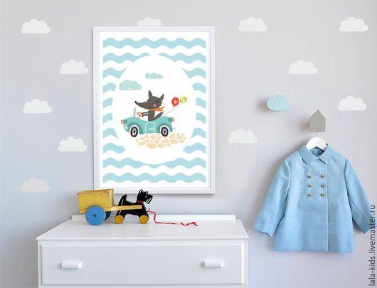 Детская ручной работы. Ярмарка Мастеров - ручная работа. Купить Постер для детской Серый волк. Handmade. Бирюзовый, постер